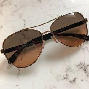 Coach Light Gold Aviator Brown Lens Sunglasses